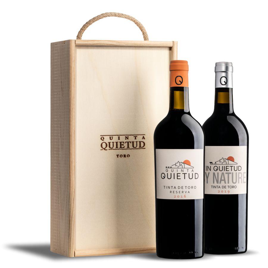 estuche de madera con botella de Quinta Quietud + botella In Quietud..