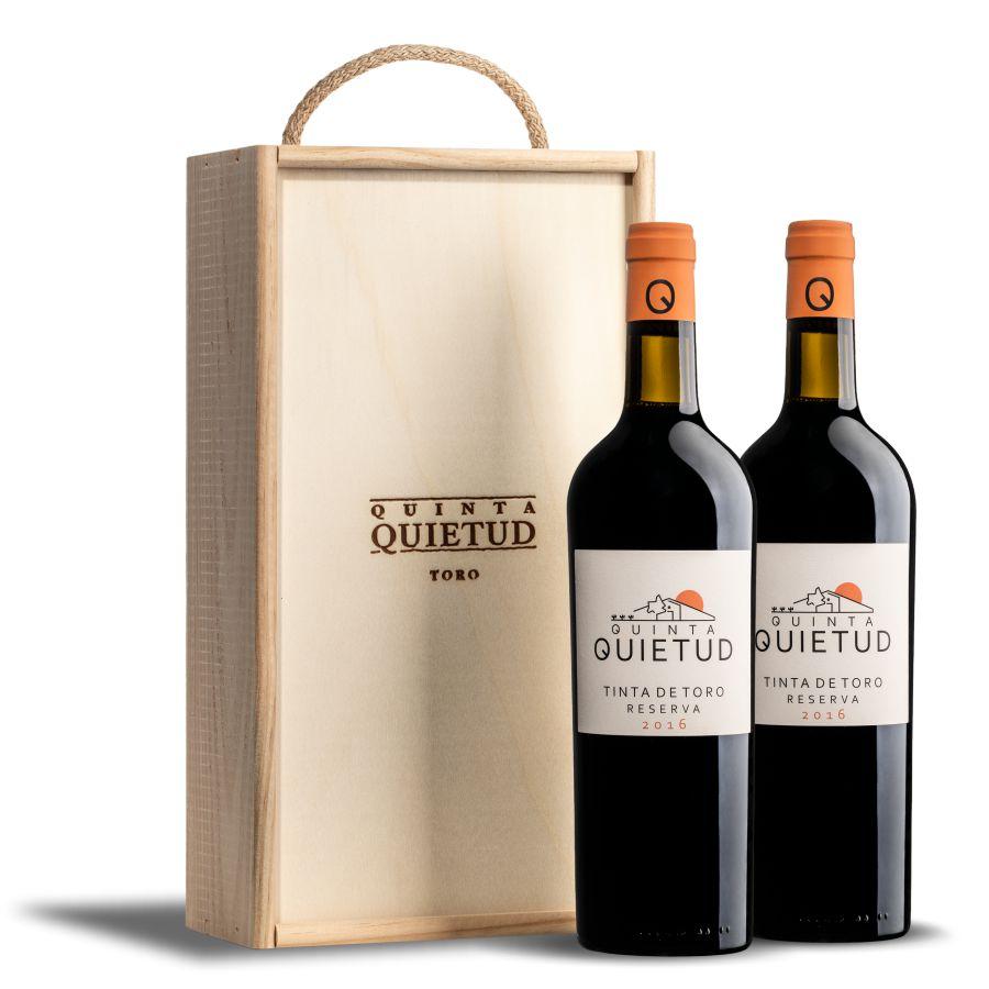 estuche de madera 2 botellas de Quinta Quietud.