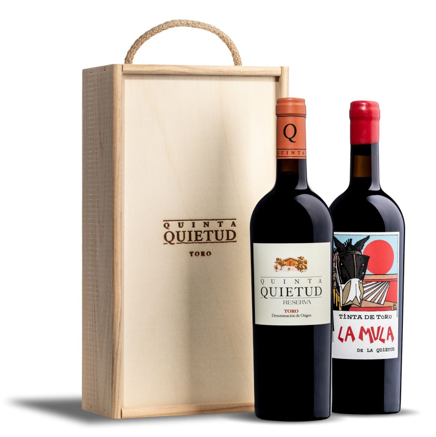 estuche de madera con botella de Quinta Quietud + botella La Mula de la Quietud.